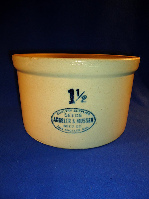 Aggeler & Musser, Poultry Supplies, Los Angeles 1 1/2 Gallon Stoneware Crock