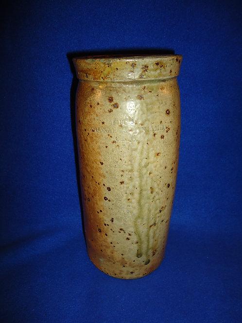 McDonald & Benjamin, Cincinnati, Ohio Stoneware Wax Sealer Canning Jar