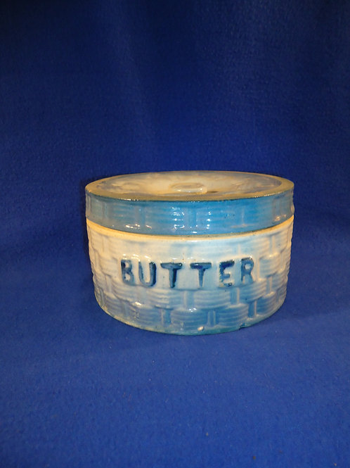 Blue and White Basketweave and Morning Glory Stoneware Butter Crock
