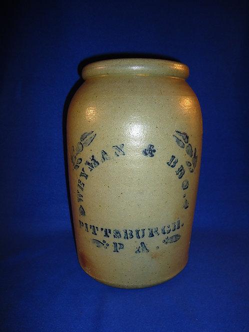 Weyman & Bro., Pittsburgh, Pennsylvania Stoneware 2 Gallon Snuff Jar