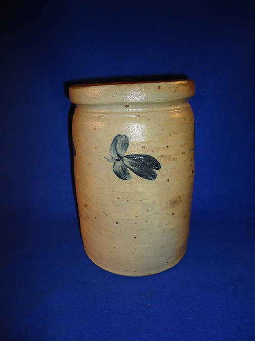 Circa 1870 1 Gallon Stoneware Jar with Clovers from Baltimore, Maryland