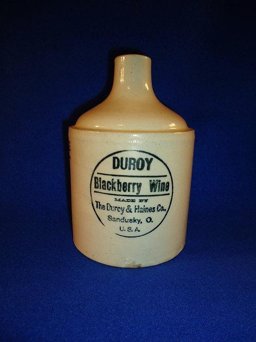 Duroy Blackberry Wine, Duroy & Haines, Sandusky, Ohio Stoneware Jug