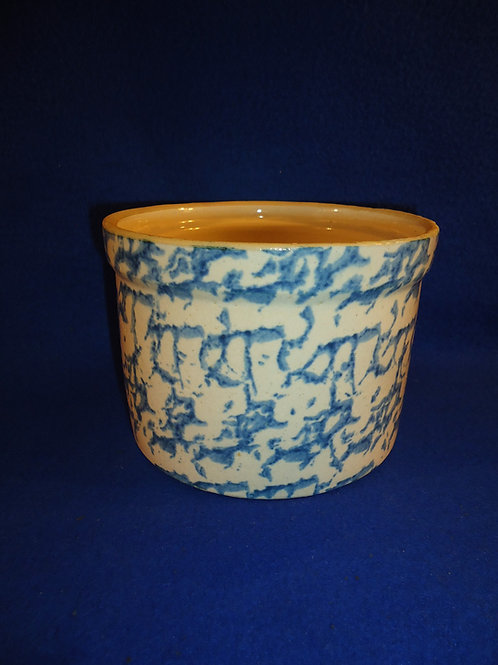 Blue and White Spongeware Stoneware Butter Crock by Uhl #5667