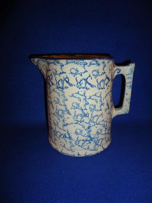 Blue and White Spongeware Stoneware Hallboy Pitcher #5614