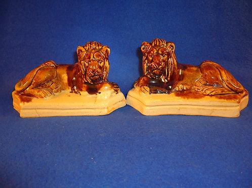 Circa 1830 Pair of Yellow Ware Recumbent Lions