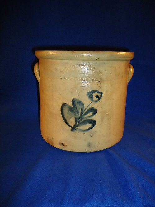 Fulper Brothers, Flemington, New Jersey Stoneware 1 Gallon Crock with Flower