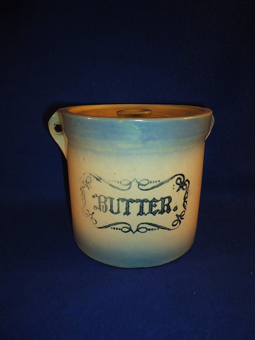 Blue and White Stoneware Butter Crock, Western Stoneware, Monmouth, IL #5432