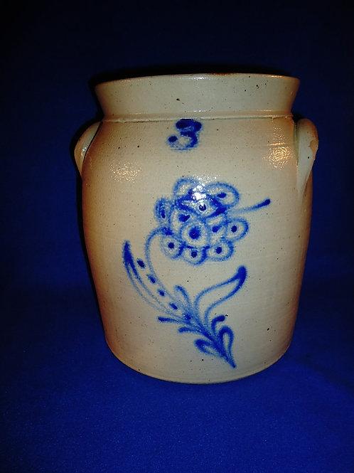 3 Gallon Stoneware Jar with Poppy, att. W. Roberts of Binghamton, New York
