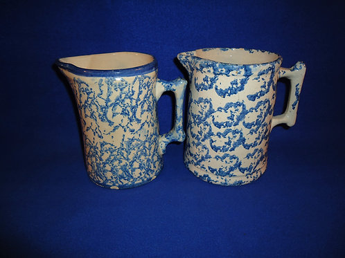 2 Blue and White Spongeware Stoneware Pitchers for 1 Money #5269