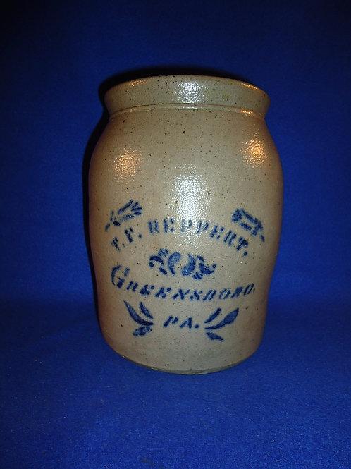 R. T. Reppert, Greensboro, Pennsylvania Stoneware 1 Gallon Jar