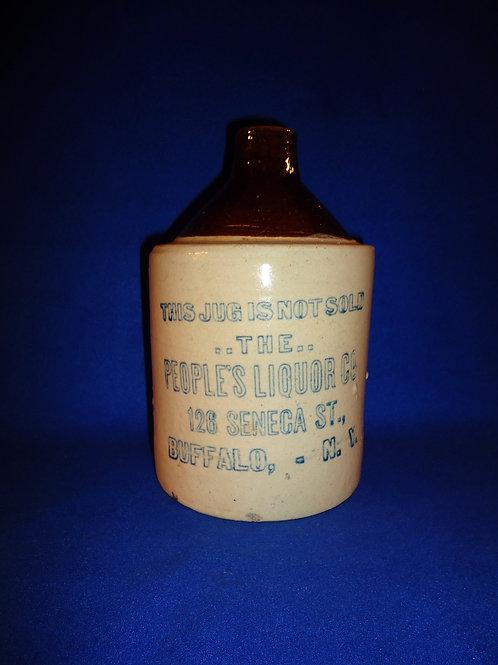 People's Liquor Company, Buffalo, New York Stoneware 1/2 Gallon Jug