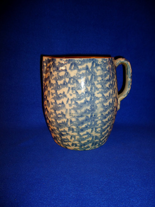 Blue and White Spongeware Pitcher from the Mid-Atlantic Region