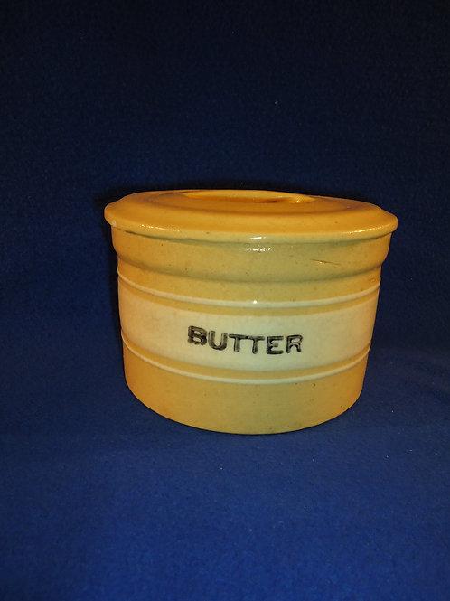 Yellow Ware Butter Crock, Dandy Line, Brush McCoy