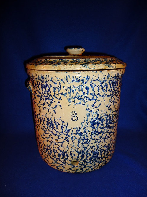 Blue and White Stoneware Spongeware 3 Gallon Water Cooler with Original Lid