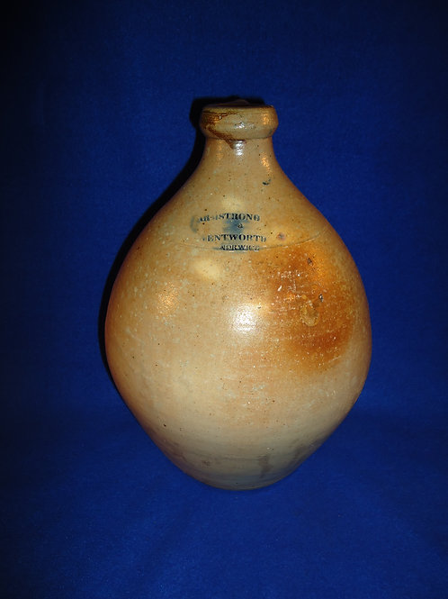 Armstrong and Wentworth, Norwich, Connecticut 1 Gallon Stoneware Ovoid Jug