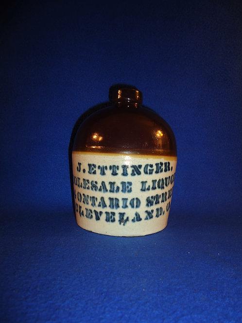 J. Ettinger, Liquor, Cleveland, Ohio Stoneware Jug #5815