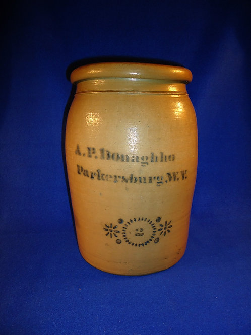 A. P. Donaghho, Parkersburg, West Virginia Stoneware 2 Gallon Jar