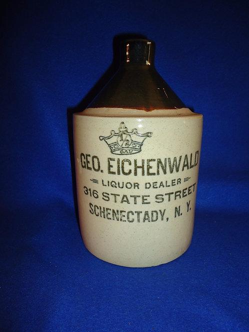 George Eichenwald, Liquor Dealer, Schenectady, New York Stoneware 1/2g Jug