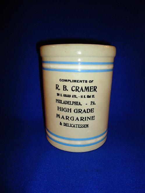 R. B. Cramer, Delicatessen, Philadelphia, Pennsylvania Stoneware Margarine Crock