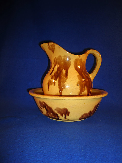 Yellow Ware Pitcher and Bowl with Rockingham Sponging, #4963