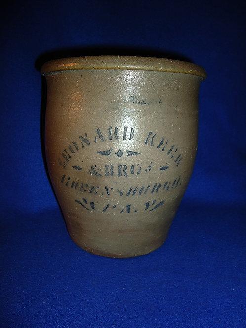 Leonard Keek,Greensburgh, Pennsylvania Stoneware 1 Gallon Cream Pot