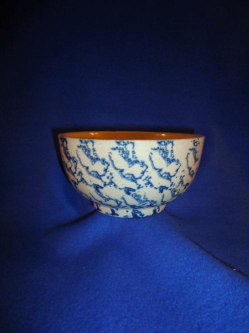 Circa 1900 Blue and White Spongeware Bowl, Patterned Sponging #5465