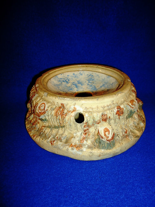 Adirondack Style Stoneware Cuspidor/Spittoon with Blue and White Spongeware