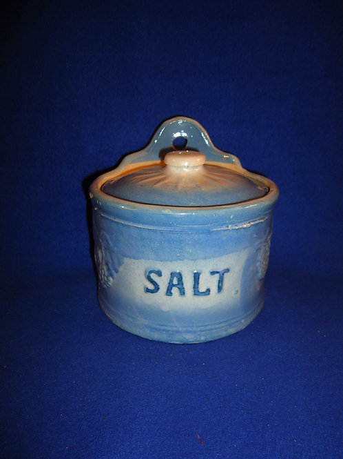 Blue and White Stoneware Blackberry Salt Crock with Lid #5339