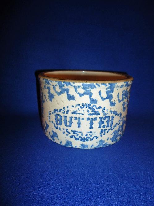 Fancy Little Blue and White Spongeware Stoneware Butter Crock #5439