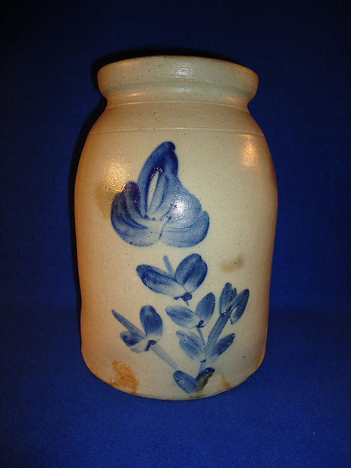 1 1/2 Gallon Stoneware Jar with Tulip, att. Smith & Day of Norwalk, Connecticut