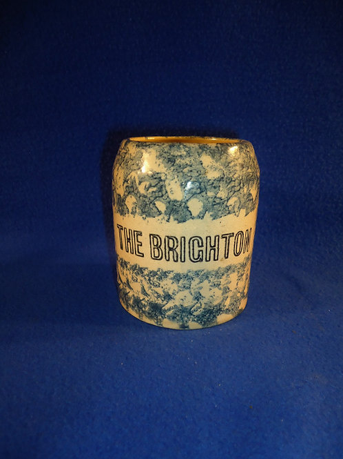 "Circa 1900 Blue and White Spongeware Stoneware Mug- ""New Brighton"""