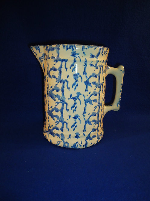 Blue and White Spongeware Stoneware Pitcher with Gorgeous Blue #4497