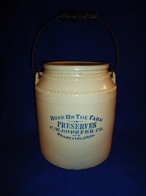 C. W. Rodefer, Shadyside, Ohio Stoneware 3g Preserve Jar #5697