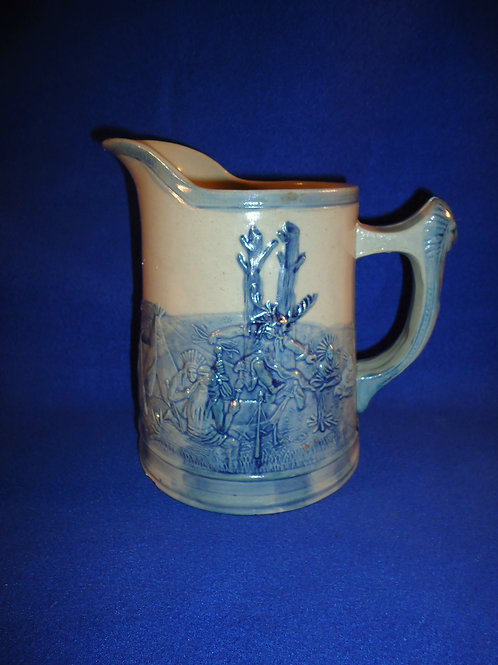 Old Sleepy Eye Standing Indian Blue and Gray Flemish Pitcher