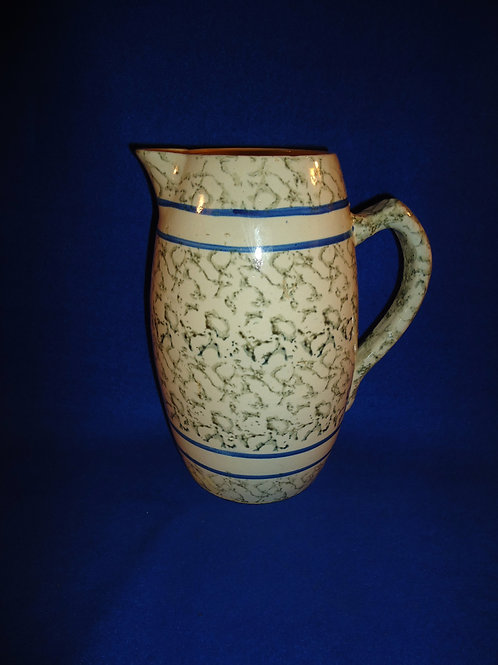 Circa 1890 Green and White Spongeware Banded Pitcher, #4906