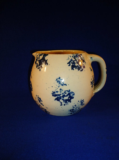 Blue and White Stoneware Country Spongeware Pitcher