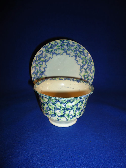 19th Century Blue and Green Spongeware Handleless Cup and Saucer #5180