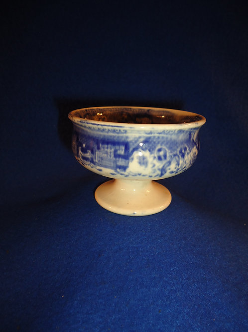 Blue and White Staffordshire Stoneware Footed Master Salt with Transfer Print