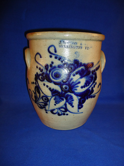J. Norton, Bennington, Vermont Stoneware 3g Cream Pot with Floral Bouquet #5687