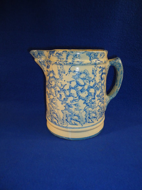 Circa 1900 Blue and White Spongeware Stoneware Pitcher