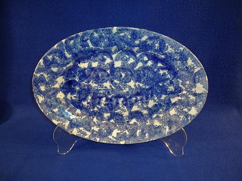 "Late 19th Century Blue and White Spongeware Stoneware Oval 13 1/2"" Platter"