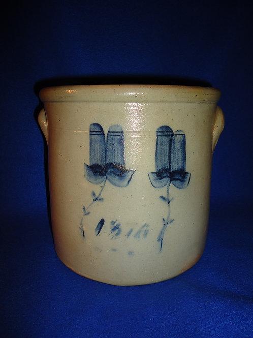 Dated 1876 1 Gallon Stoneware Crock, att. Brown Bros. of Huntington, Long Island