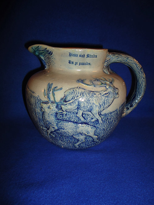Blue and Gray Stoneware Stag Hunt Pitcher, Whites of Utica #5372