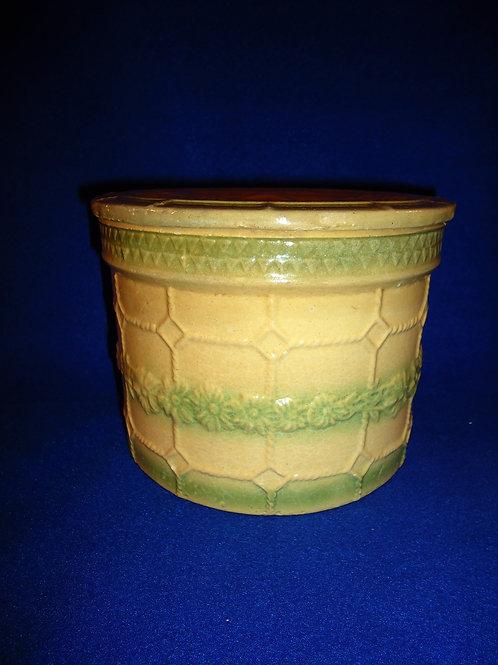 Rare Yellow Ware Pastry Crock in the Chicken Wire and Daisy Garland Pattern