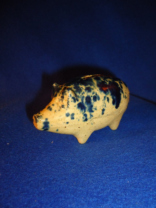 Late 19th Century Yellow Ware Piggy Bank with Cobalt Drip Decoration