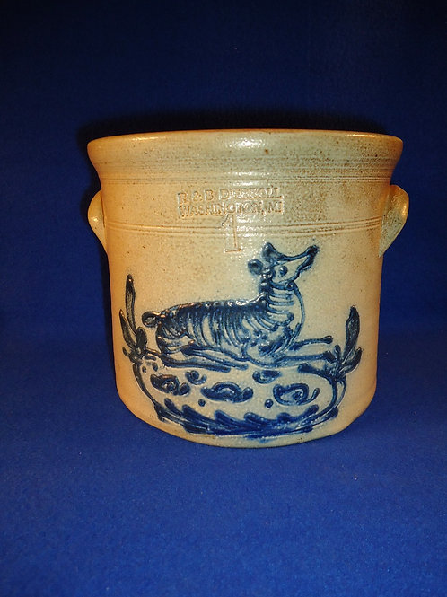 R. & B. Diebboll, Washington, Michigan Stoneware 1g Crock with Recumbant Dog
