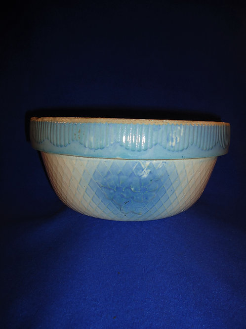 Blue and White Stoneware Bowl in the Apple Blossom & Diamond Pattern #5244