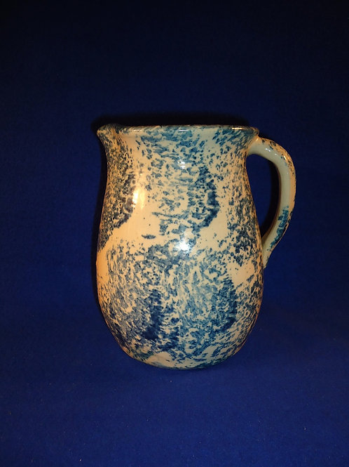 Southern Country Stoneware Blue and White Spongeware Pitcher