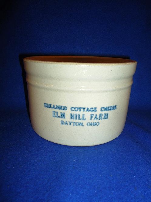 Elm Hill Farm, Dayton, Ohio Stoneware Cottage Cheese Crock #5781