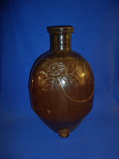 Circa 1900 3 Gallon Redware Water Cooler with Embossed Floral, #5257